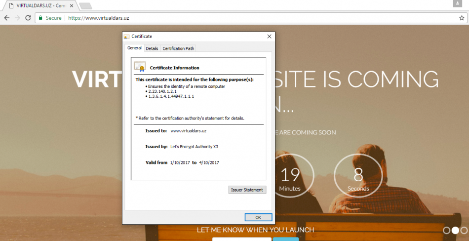 Bepul SSL sertifikat olish.