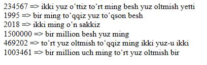 Oʻzbek tilida sonlarni soʻz bilan ifodalash algoritmi