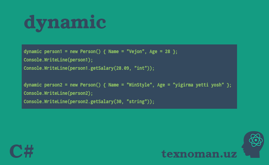 ​C#. dynamic. Dynamic Language Runtime